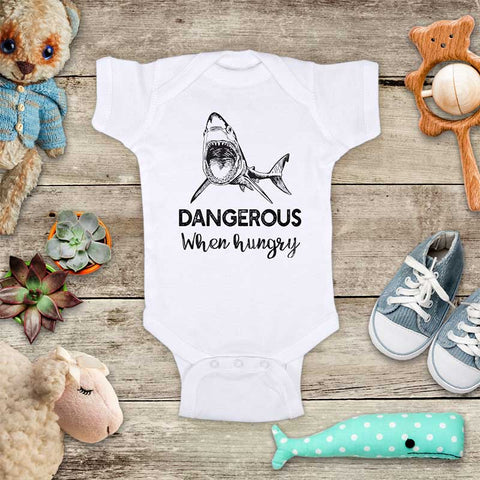Dangerous When hungry shark jaws funny and cute kids baby onesie shirt - Infant & Toddler Youth Soft Fine Jersey Shirt