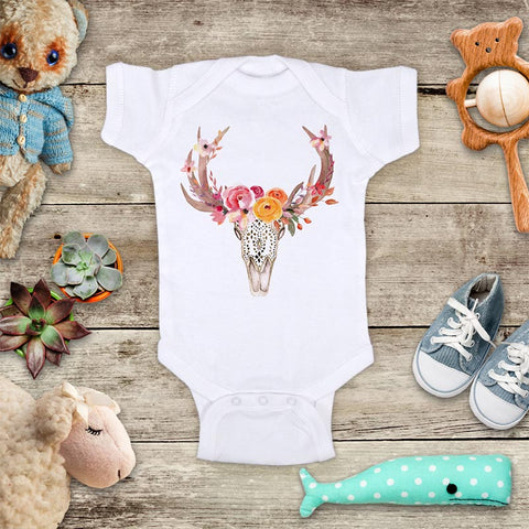 Deer Horn Flowers - boho bohemian hippie baby onesie Infant & Toddler Soft Shirt