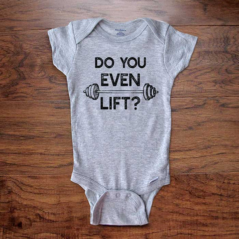 Do you even lift? funny baby onesie bodysuit surprise birth pregnancy reveal announcement husband grandparents aunt uncle baby shower gift