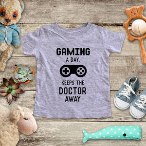 Gaming A Day, Keeps the Doctor Away playing Retro Video game design Baby Onesie Bodysuit, Toddler & Youth Soft Shirt