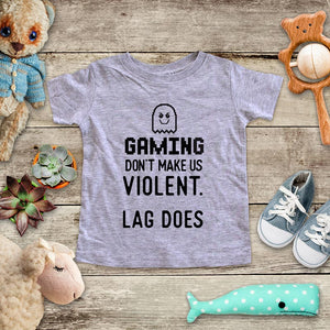 Gaming Don't Make Us Violent. Lag Does - playing Retro Video game design Baby Onesie Bodysuit, Toddler & Youth Soft Shirt