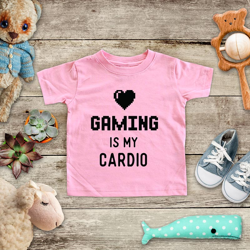 Gaming Is My Cardio - playing Retro Video game design Baby Onesie Bodysuit, Toddler & Youth Soft Shirt