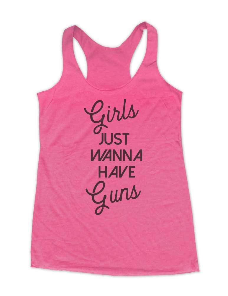 Girls Just Wanna Have Guns - Weight Lifting - Soft Triblend Racerback Tank fitness gym yoga running exercise birthday gift