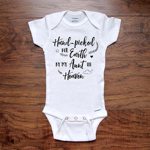 Memorial Baby Onesie Pregnancy Reveal Hand-Picked for Earth by My Aunt in Heaven