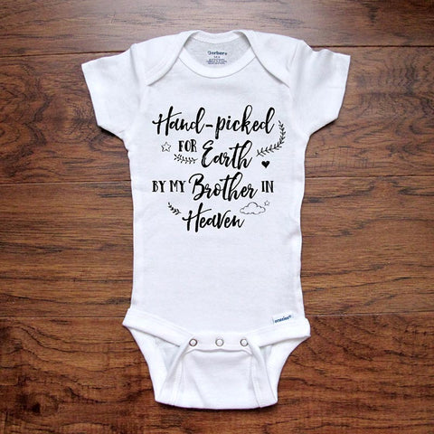 Memorial Baby Onesie Pregnancy Reveal Hand-Picked for Earth by My Brother in Heaven