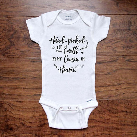 Memorial Baby Onesie Pregnancy Reveal Hand-Picked for Earth by My Cousin in Heaven