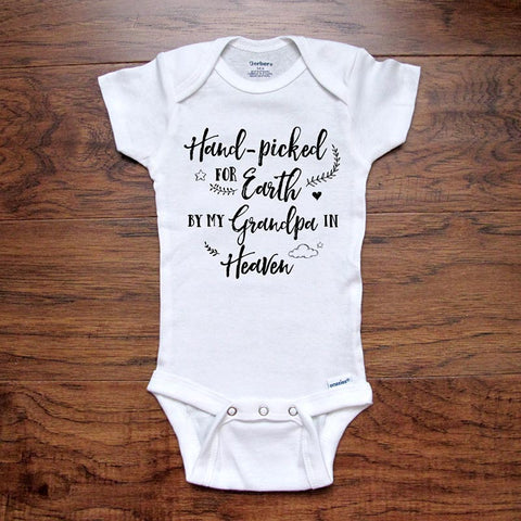 Memorial Baby Onesie Pregnancy Reveal Hand-Picked for Earth by My Grandpa in Heaven