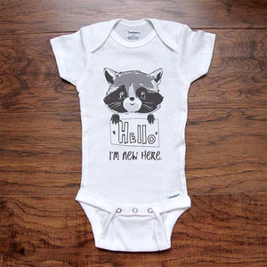 Hello I'm new here - cute baby raccoon d2 onesie bodysuit birth pregnancy announcement baby shower gift