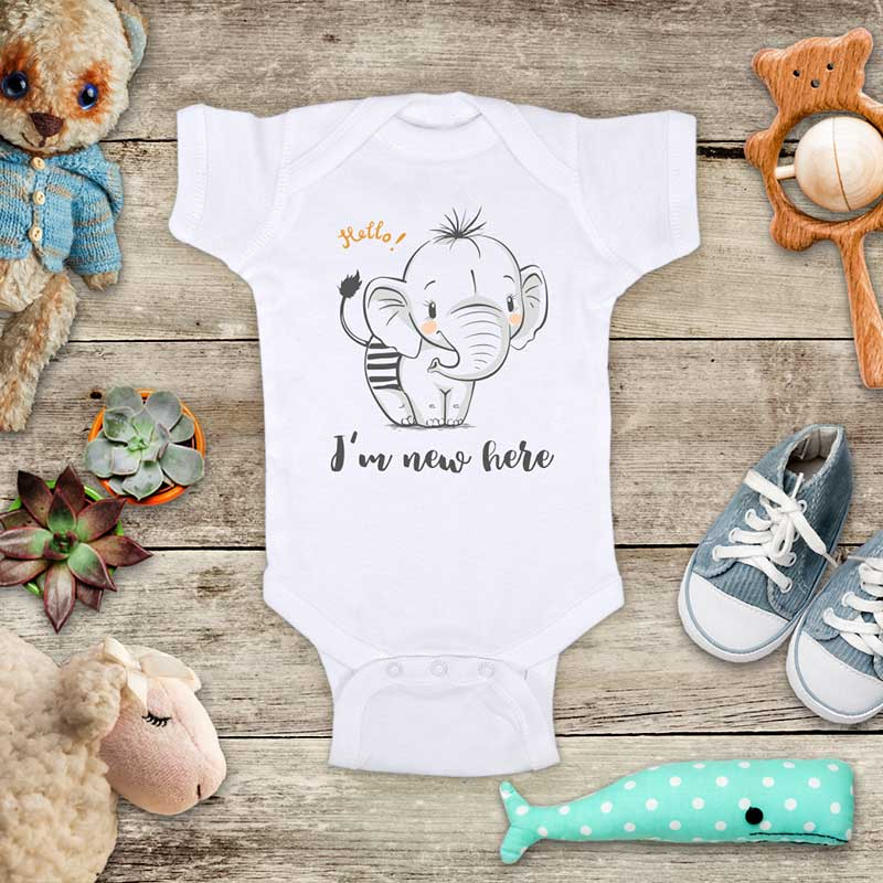 Hello I'm new here - cute baby elephant d1 onesie bodysuit birth pregnancy announcement baby shower gift