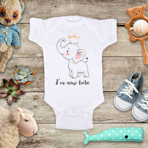 Hello I'm new here - cute baby elephant d2 onesie bodysuit birth pregnancy announcement baby shower gift