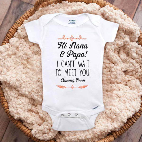 Hi Nana & Papa I can't wait to meet you Coming Soon baby onesie surprise grandparents mom dad pregnancy reveal