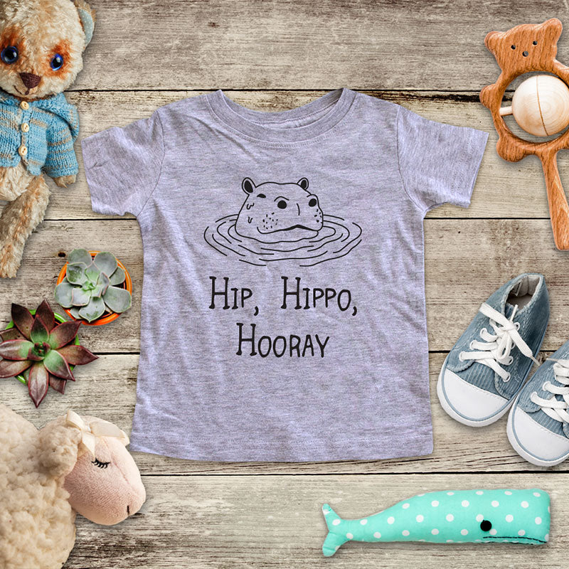 Hip, Hippo Hooray hippopotamus (d1) - animal zoo trip baby onesie shirt - Infant & Toddler Youth Soft Fine Jersey Shirt