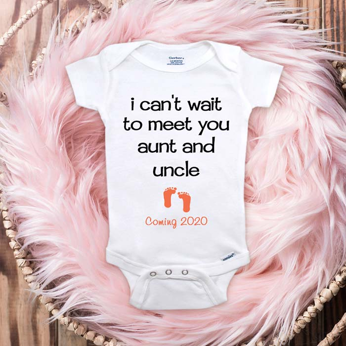 I can't wait to meet you aunt and uncle Coming 2020 2021 baby onesie surprise sister brother pregnancy reveal