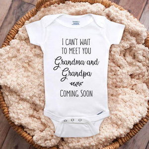 I can't wait to meet you Grandma & Grandpa Coming Soon Leaves baby onesie grandparents surprise mom dad parents pregnancy reveal
