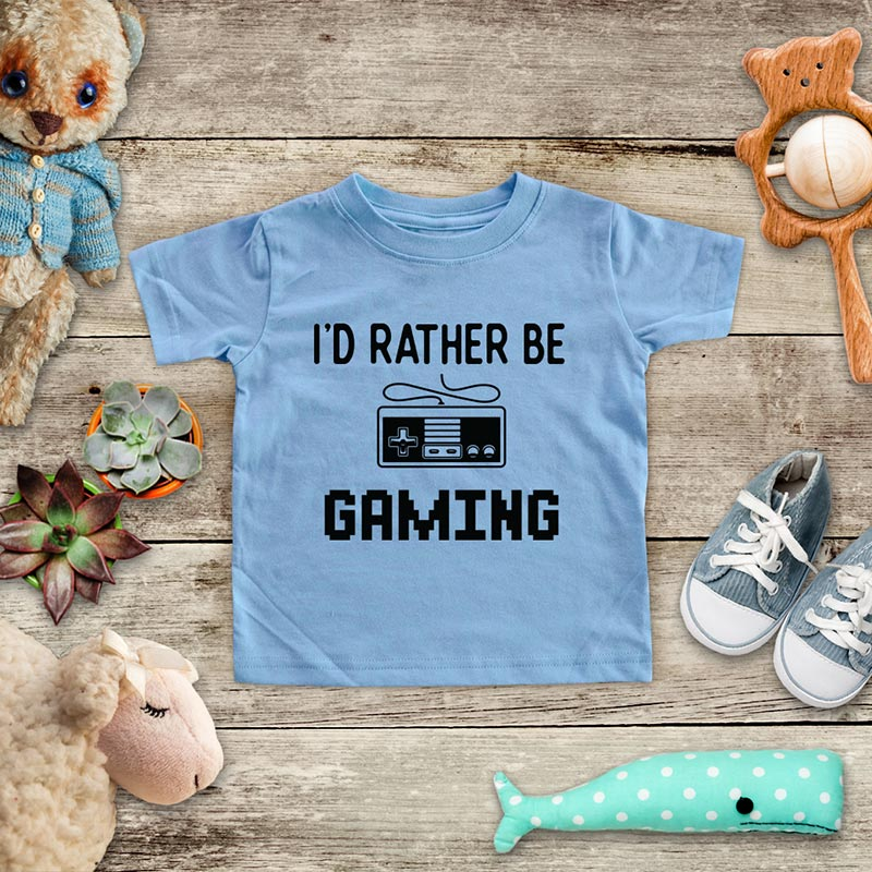 I'd Rather Be Gaming - playing Retro Video game design Baby Onesie Bodysuit, Toddler & Youth Soft Shirt