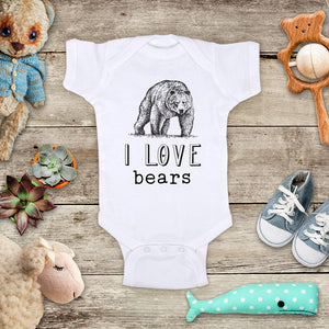 I Love bears animal zoo trip kids baby onesie shirt - Infant & Toddler Youth Soft Fine Jersey Shirt