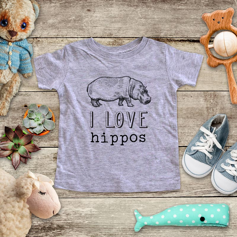 I Love hippos hippopotamus animal zoo trip kids baby onesie shirt - Infant & Toddler Youth Soft Fine Jersey Shirt