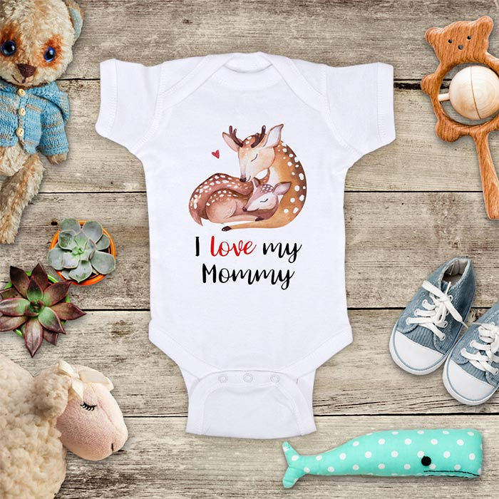 I Love my Mommy Deers Boho d1 Baby Onesie Bodysuit Infant & Toddler Soft Fine Jersey Shirt - Baby Shower Gift