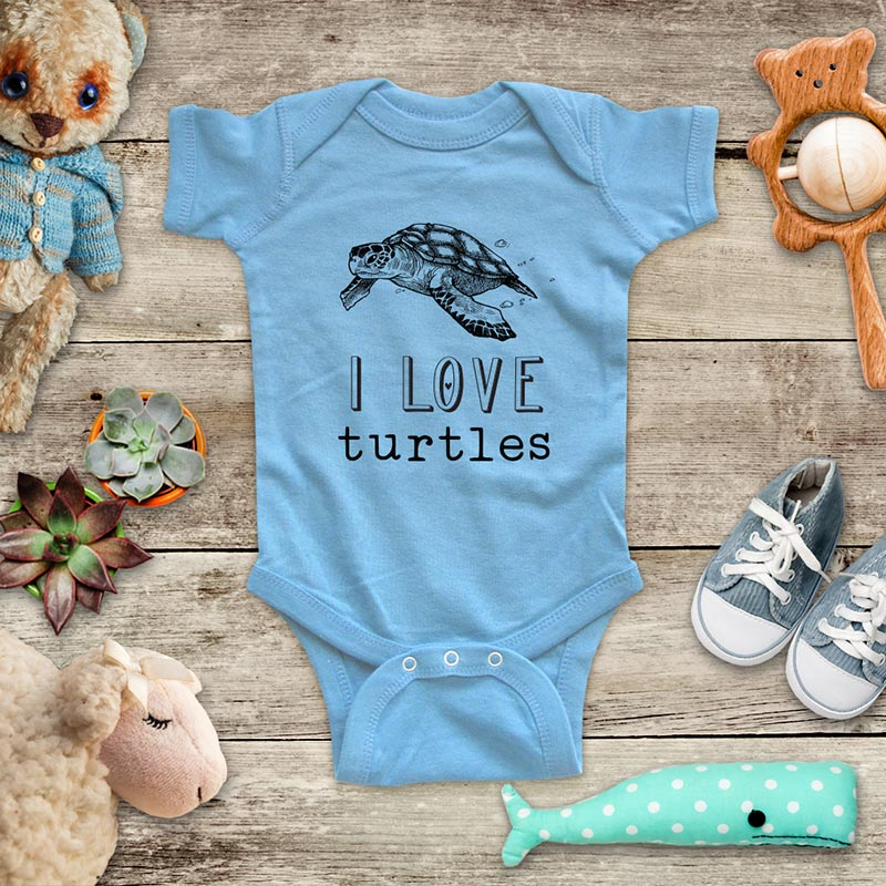 I Love Turtles baby onesie kids shirt - Infant & Toddler Youth Soft Fine Jersey Shirt