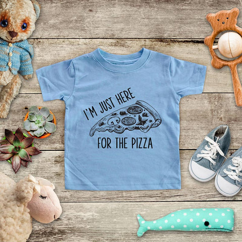 I'm Just Here for the Pizza food party funny Baby Onesie Bodysuit, Toddler & Youth Soft Shirt
