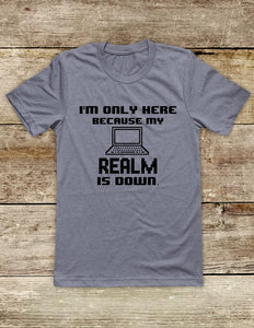 I'm Only Here Because My REALM Is Down - funny Video Game Soft Unisex Men or Women Short Sleeve Jersey Tee Shirt