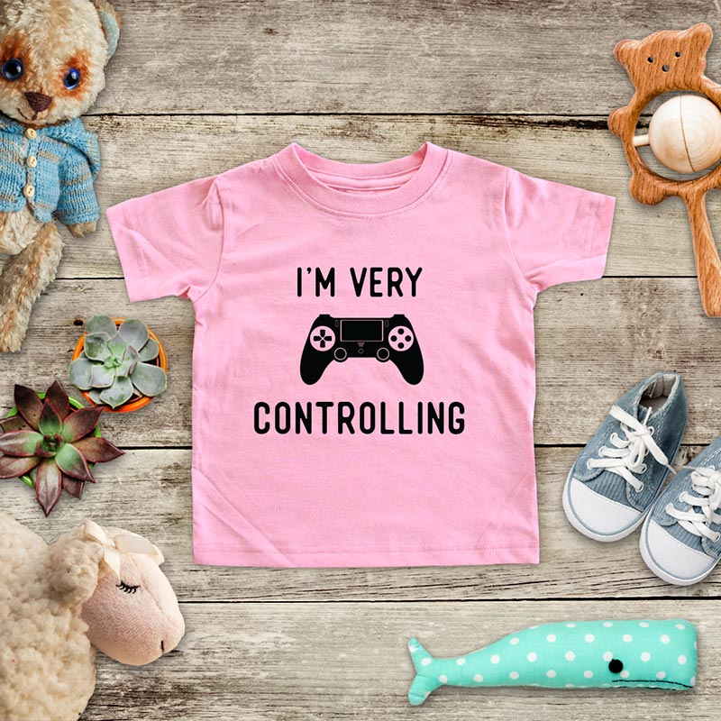 I'm Very Controlling - playing Retro Video game design Baby Onesie Bodysuit, Toddler & Youth Soft Shirt