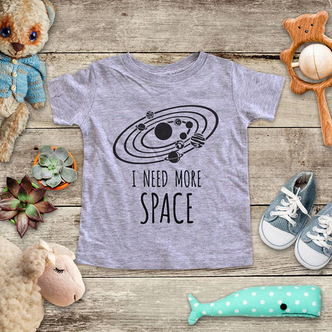 I Need More Space Planets Astronomy funny Baby Onesie Bodysuit, Toddler & Youth Soft Shirt
