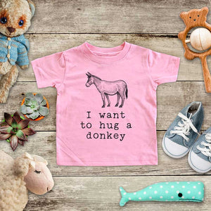 I want to hug a donkey - cute farm animal zoo trip baby onesie kids shirt Infant & Toddler Youth Shirt