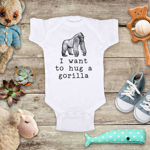 I want to hug a Gorilla animal zoo trip baby onesie kids shirt Infant & Toddler Shirt