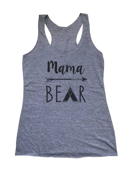 Mama Bear Tepee - Mommy Hippie Boho Hipster Soft Triblend Racerback Tank fitness gym yoga running exercise birthday gift