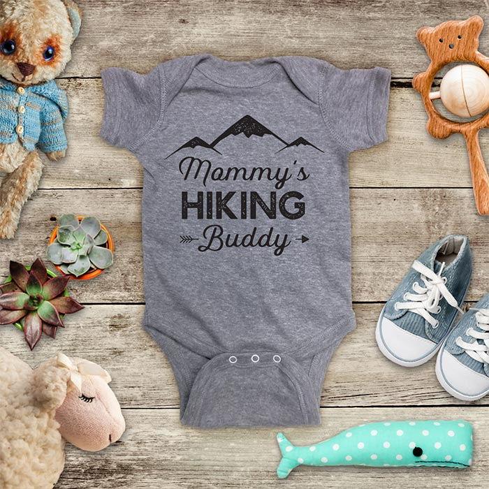Mommy's Hiking Buddy - hiker fitness workout hike mountain baby shower gift for mom mother baby onesie kids shirt Infant & Toddler Youth Shirt