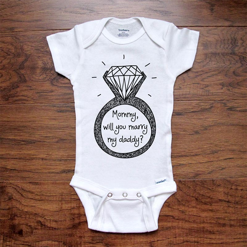 Embroidered Keepsake Wedding Proposal Blue Mommy will you Marry my Daddy