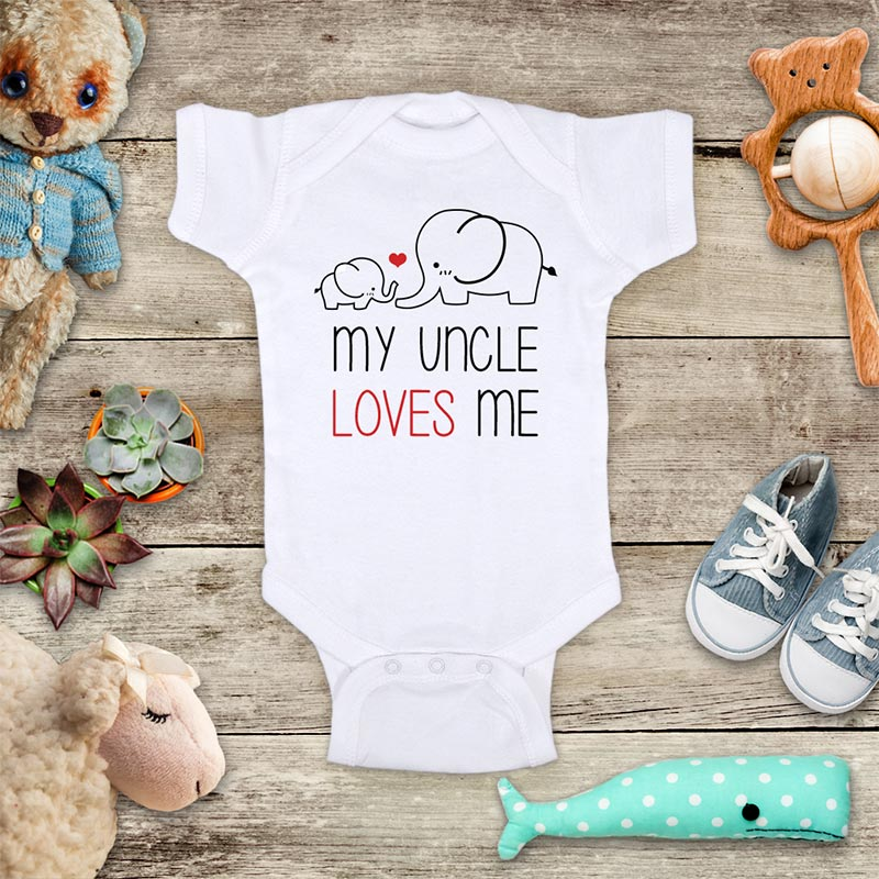 My Uncle Loves Me cute Elephants - Infant & Toddler Super Soft Fine Jersey Shirt or Baby Bodysuit - Baby Shower Gift Onesie