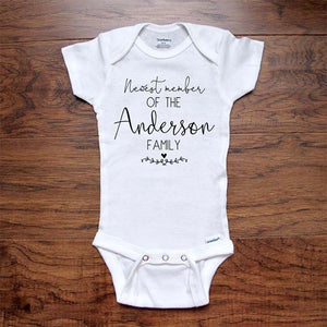 CUSTOM baby onesie Newest member of the (Personalized Last Name) Family bodysuit baby coming birth pregnancy announcement surprise grandparents or daddy