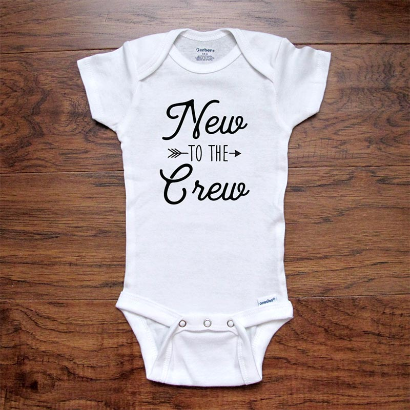 New To The Crew - boho hippie hipster new baby onesie bodysuit surprise birth pregnancy reveal announcement husband grandparents