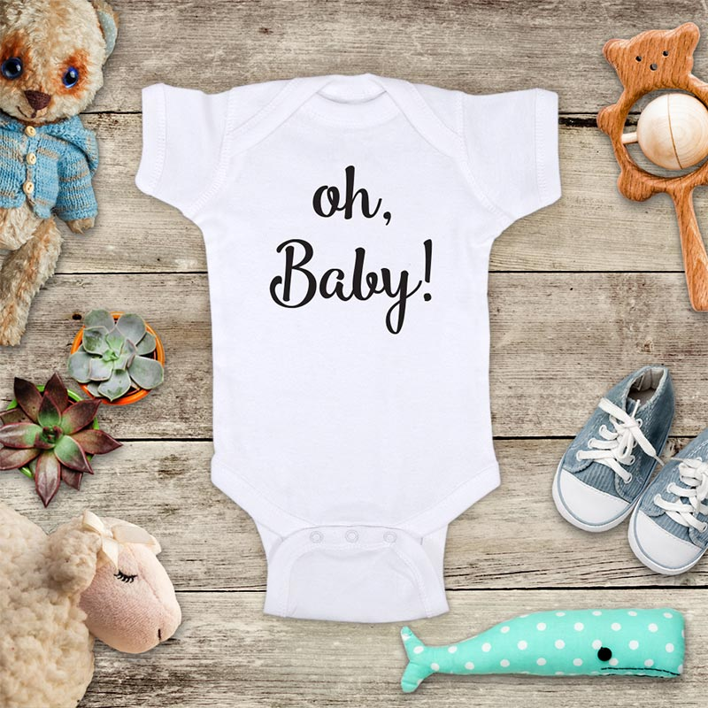 oh baby! funny baby onesie bodysuit baby coming birth pregnancy announcement by Hello Handmade - surprise grandparents or daddy
