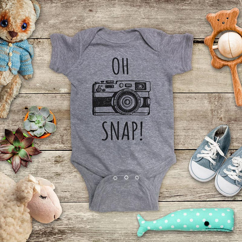 Oh Snap Camera funny Baby Onesie Bodysuit, Toddler & Youth Soft Shirt