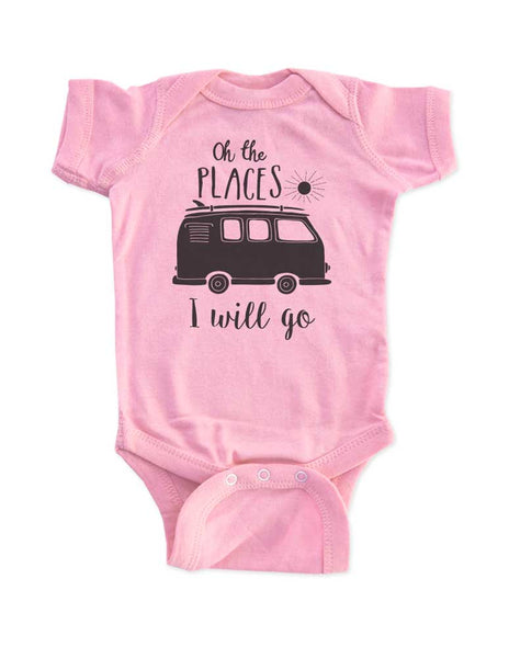 Oh the PLACES I will go - boho camping mountains beach surfing kids baby onesie or shirt - Infant & Toddler Soft Fine Jersey Shirt Hello Handmade