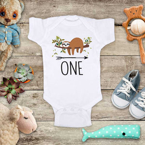 ONE Birthday Sloth - cute animal zoo First Birthday baby onesie Infant & Toddler Soft Shirt
