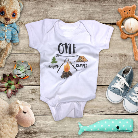 ONE Happy Camper Hipster 1st First Birthday Shirt Camping Mountains Camp Design Baby Bodysuit Infant Toddler