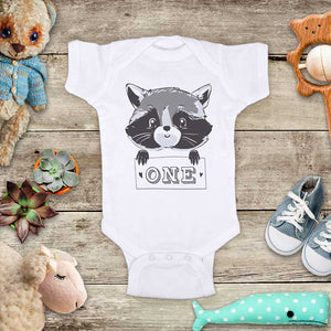 Raccoon One 1st First Birthday baby bodysuit Infant Toddler Shirt