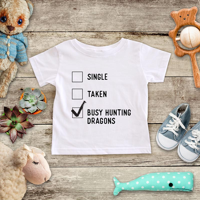 Single Taken Busy Hunting Dragons playing Retro Video game design Baby Onesie Bodysuit, Toddler & Youth Soft Shirt