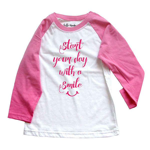 Start your day with a smile - Girls Raglan Tee Shirt
