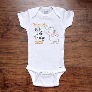 Surprise! Baby is on the Way 2021 Soon cute baby elephant baby onesie bodysuit birth pregnancy reveal announcement grandparents or daddy