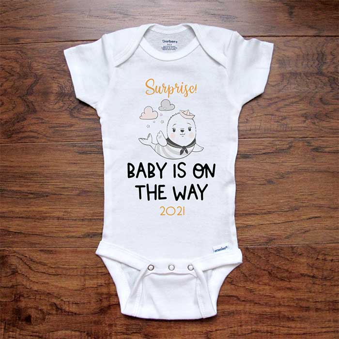 Surprise! Baby is on the Way 2021 Soon baby seal onesie bodysuit birth pregnancy reveal announcement grandparents or daddy