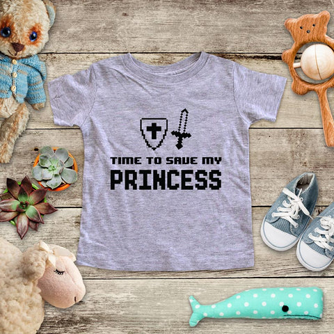 Time To Save My Princess - playing Retro Video game design Baby Onesie Bodysuit, Toddler & Youth Soft Shirt
