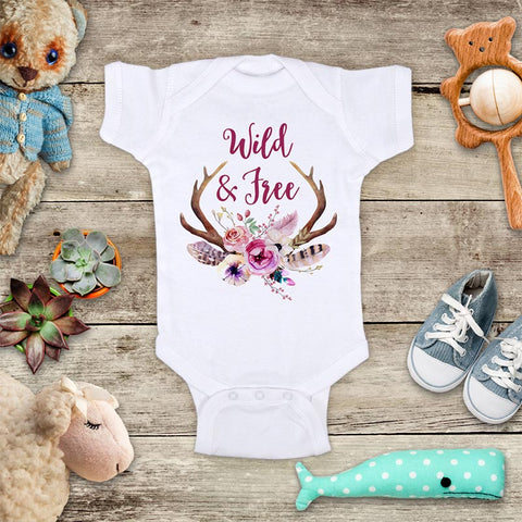 Wild & Free flower deer horn hipster boho design baby onesie bodysuit Infant Toddler Shirt Hello Handmade design baby birth pregnancy announcement