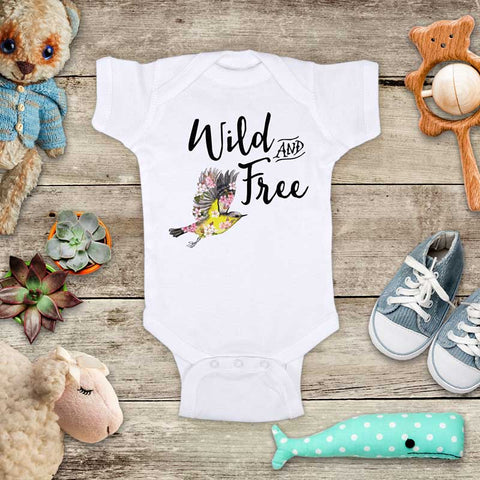 Wild & Free Yellow Bird flower hipster boho design baby onesie bodysuit Infant Toddler Shirt Hello Handmade design baby birth pregnancy announcement