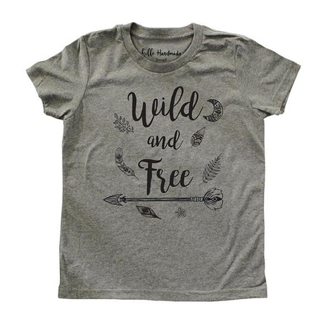 Wild and Free - design with feathers Youth Short Sleeve Crewneck Jersey Tee Shirt