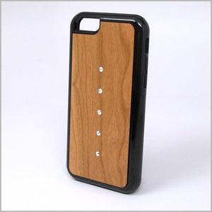 iPhone Case with Cherry Wood Inlaid with Swarovski crystals